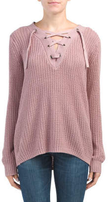 Juniors Oversized Lace Up Sweater
