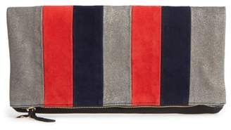 Clare Vivier Mixed Media Stripe Leather Foldover Clutch