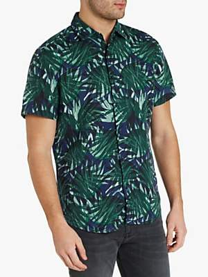 734dfb1c6 HUGO BOSS BOSS Regular Fit Leaves Print Short Sleeve Shirt, Open Green
