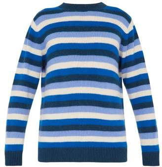 The Elder Statesman Inch Striped Cashmere Sweater - Mens - Green Navy