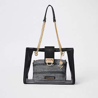 River Island Black perspex inner pouch chain tote bag