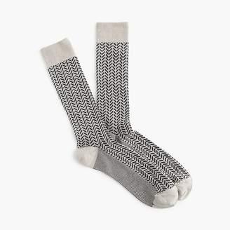 Ribbed dress socks in navy chevron print