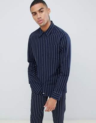 Dickies stripe long sleeve shirt in dark blue