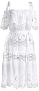 BCBGMAXAZRIA Midi Eyelet A-Line Dress