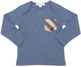Burberry Cotton Jersey T-Shirt With Check Pocket