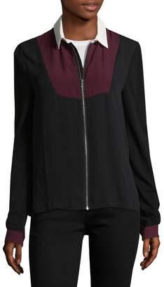 The Kooples Women's Point Collar Mix Pique Shirt