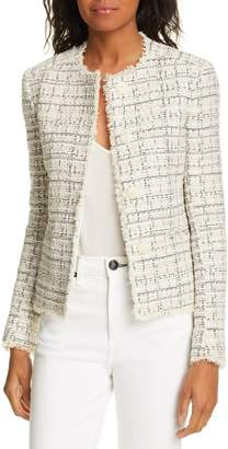 Helene Berman Fringe Detail Cotton Blend Tweed Jacket