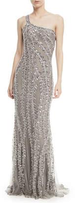 Naeem Khan One-Shoulder Embellished Sequin Evening Gown