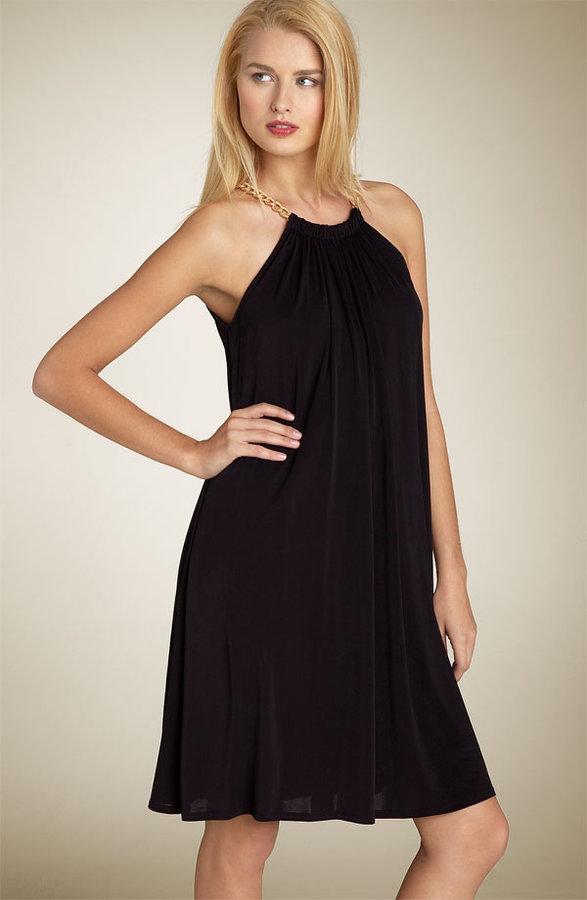 Anne Klein Dress Chain Halter Trapeze Jersey Dress