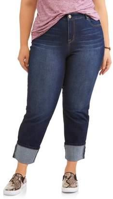 A3 Denim Women's Plus Size Dark Wash Straight Leg Jean with Wide Cuff