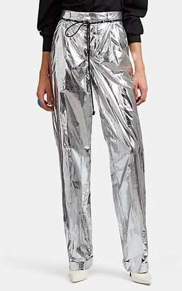 Maison Margiela Women's Shiny Tech-Taffeta Pleated Trousers - Silver