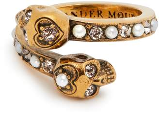 Alexander McQueen Skull faux pearl and crystal-embellished ring