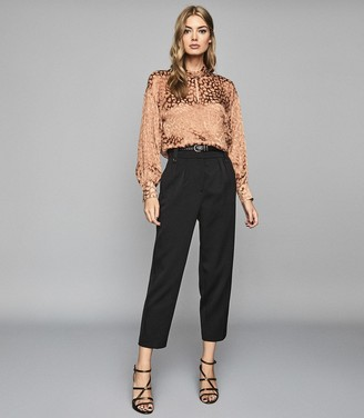 Reiss ELLA Semi sheer burnout blouse Blush