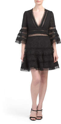 Plunging Neckline Eyelet Mini Dress