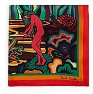Paul Smith Men's Landscape-Print Silk Pocket Square - Red