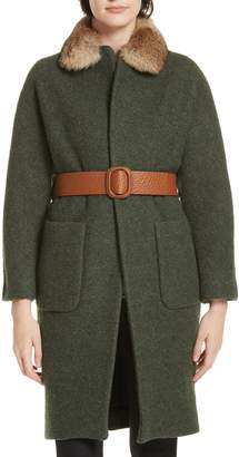 BA&SH Cary Genuine Rabbit Fur Trim Wrap Coat