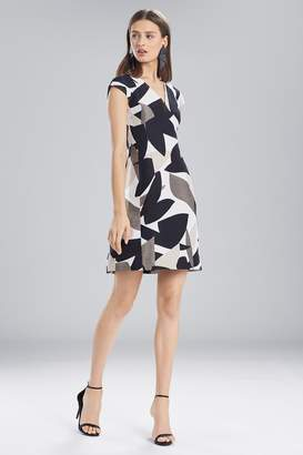 Natori Josie Abstract Printed Jacquard Sleeveless Seam Dress