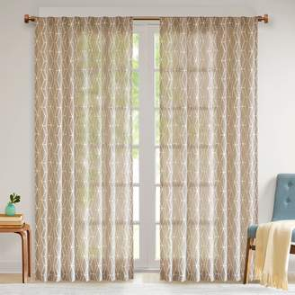 Madison Park 1-Panel Arbor Chainlink Embroidered Sheer Window Curtain