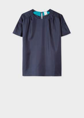 Paul Smith Women's Navy Satin Flute Sleeve Top