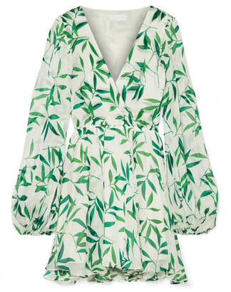 Caroline Constas Olena Wrap-effect Printed Silk-chiffon Mini Dress - Green