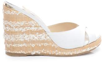 Jimmy Choo ALMER 105 White Canvas Wedges with Fringed Raffia