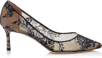 Jimmy Choo ROMY 60 Navy Lace Pointy Toe Pumps