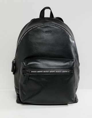HUGO National Leather Backpack with Logo Zip Detail in Black