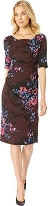 Adrianna Papell Women's Short Sleeve Wildflower Bouquet Print Modern Sheath Dress