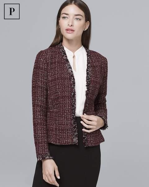 Whbm Petite Peplum-Detail Sweater Jacket