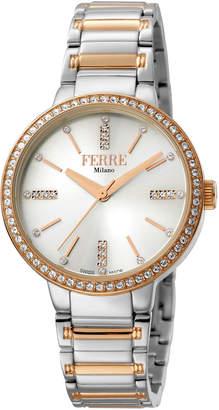 Ferré Milano Women's 34mm Stainless Steel 3-Hand Glitz Watch with Bracelet, Steel/Rose