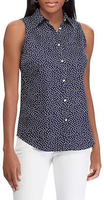 Chaps Petite Sleeveless Cotton Button-Down Shirt