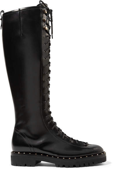Valentino - Soul Rockstud Lace-up Glossed-leather Knee Boots - Black