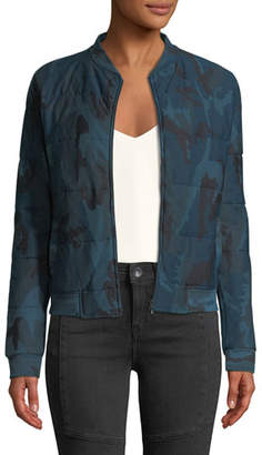 Neiman Marcus Majestic Paris for Quilted Camo-Print Zip-Front Bomber Jacket