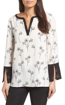 Chaus Floral Split Bell Sleeve Blouse