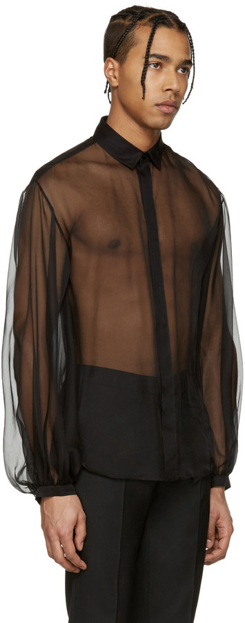 Saint Laurent Black Sheer Shirt 3