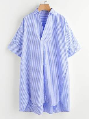 Shein Drop Shoulder Dip Hem Striped Shirt Dress