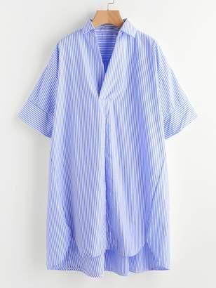 Shein Drop Shoulder Dip Hem Striped Shirt Dress