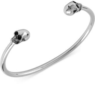 King Baby Studio Men's Skull Cuff Bracelet in Sterling Silver