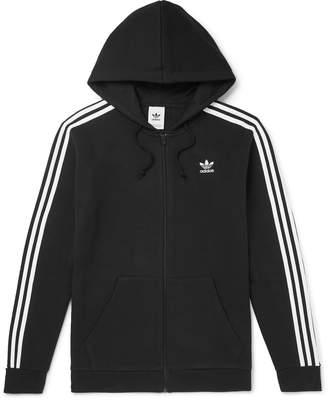 adidas Striped Cotton-Blend Jersey Zip-Up Hoodie