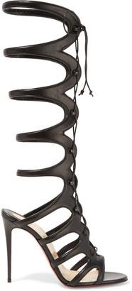 Christian Louboutin - Amazoula 100 Cutout Leather Sandals - Black $1,495 thestylecure.com