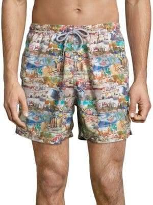 Saks Fifth Avenue COLLECTION Printed Elasticized Swim Shorts