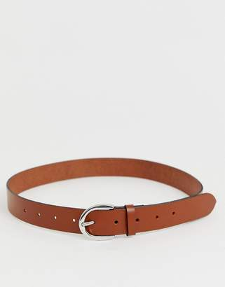 Asos Design DESIGN leather jeans belt in tan with oval buckle