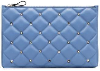 Valentino blue Quilted studded leather zip clutch bag
