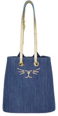 Charlotte Olympia Blue Denim Feline Bucket Bag