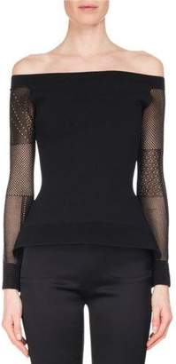 Roland Mouret Leafield Lace-Sleeve Sculpted Knit Off-the-Shoulder Top