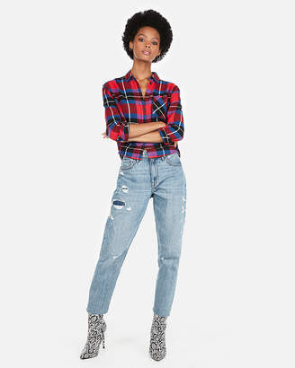 Express Red Plaid Abbreviated Flannel Shirt