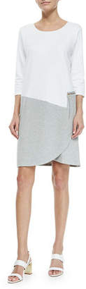 Joan Vass 3/4-Sleeve Colorblock Dress