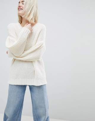 Asos DESIGN Oversized Sweater in Rib with Pleat Sleeve
