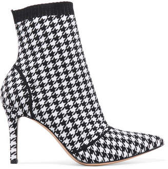 Gianvito Rossi 85 Houndstooth Stretch-knit Sock Boots - Black