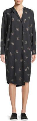 Vince Tossed Bouquet Floral Tie-Neck Dress